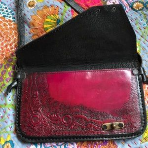 Vintage Bags - Red Leather Engraved Envelope Purse